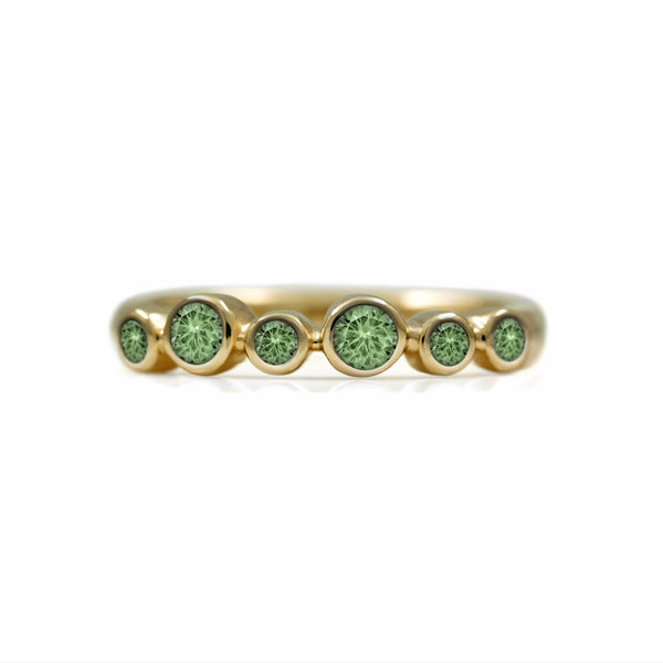 Halo half eternity ring - 9ct yellow gold and green sapphire