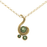 Entwine three stone gemstone pendant in 9ct gold - yellow gold and green sapphire