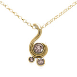 Entwine three stone gemstone pendant in 9ct gold - yellow gold and morganite