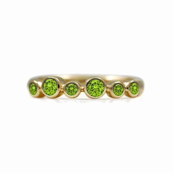 Halo half eternity ring - 9ct yellow gold and peridot