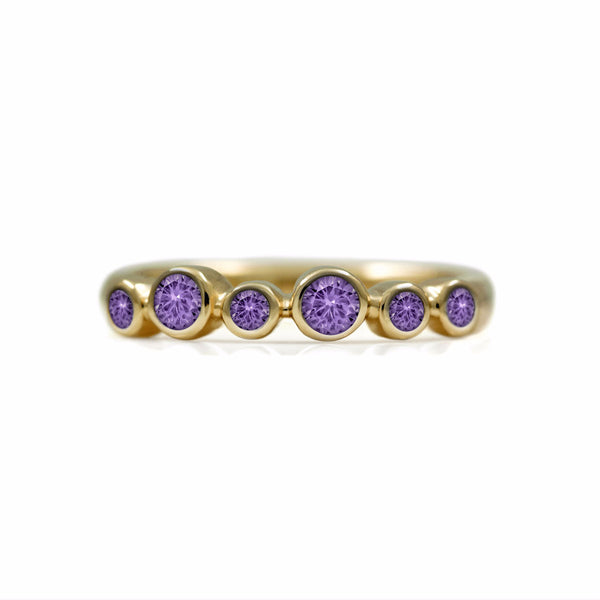 Halo half eternity ring - 9ct yellow gold and purple sapphire