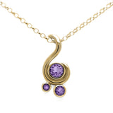Entwine three stone gemstone pendant in 9ct gold - yellow gold and purple sapphire