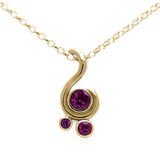 Entwine three stone gemstone pendant in 9ct gold - yellow gold and rhodolite garnet