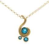 Entwine three stone gemstone pendant in 9ct gold - yellow gold and blue topaz