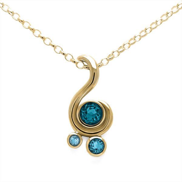 Entwine three stone gemstone pendant in 9ct gold - yellow gold and white topaz