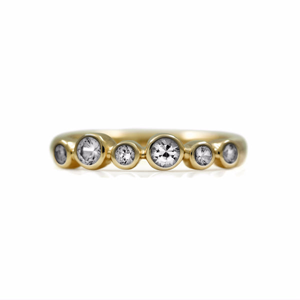 Halo half eternity ring - 9ct yellow gold and white sapphire