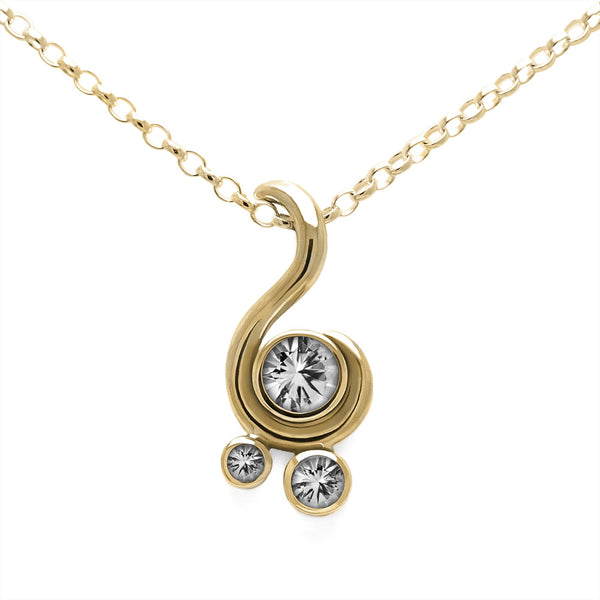 Entwine three stone gemstone pendant in 9ct gold - white gold and white topaz