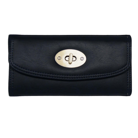 Black Continental Wallet with Postman Lock Closure