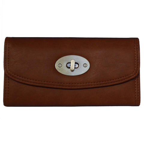 Brown Continental Wallet with Postman Lock Closure