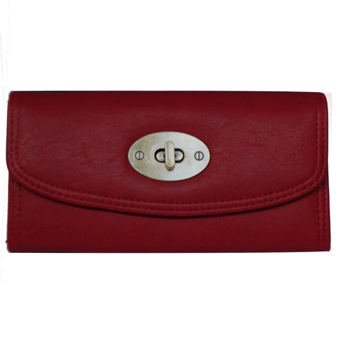 Red Continental Wallet with Postman Lock Closure