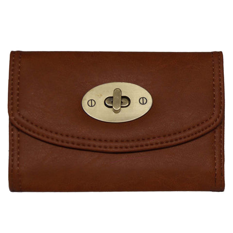 Small Brown Continental Wallet With Postman Lock Closure