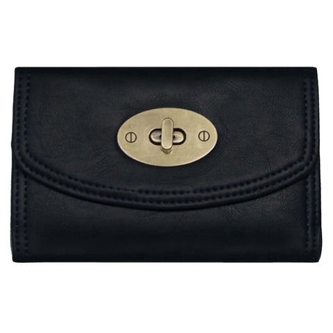 Small Black Continental Wallet With Postman Lock Closure