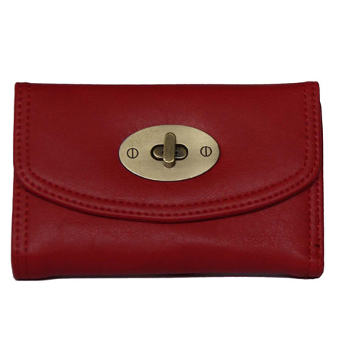 Small Red Continental Wallet With Postman Lock Closure