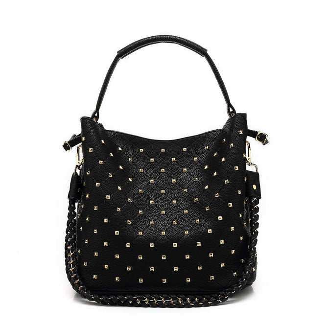 e59dc602244 Zara Kelly Black Quilted slouch bag with Gold studs – PinkPoca