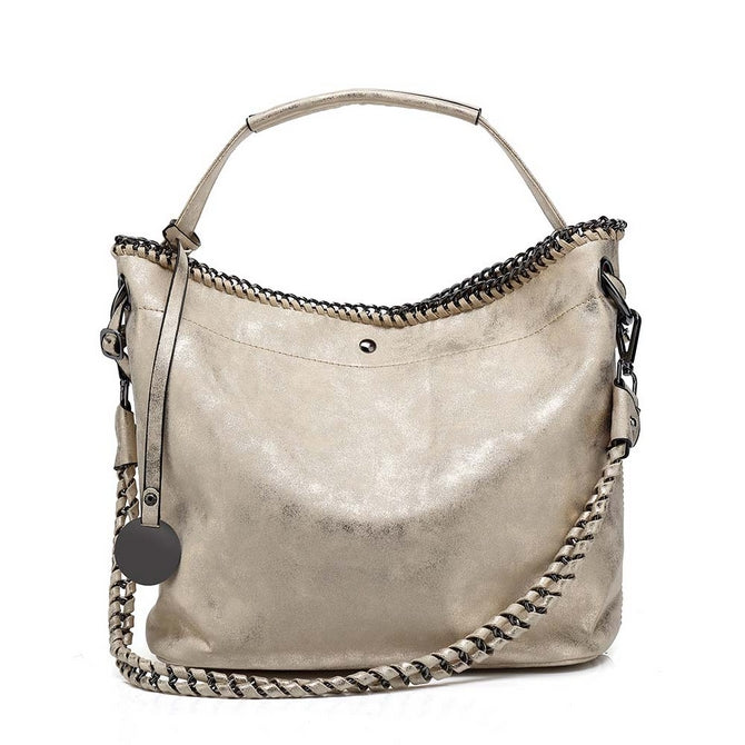 95a4edf035f Zara Kelly Light Gold metalic Slouch bag with chain detail – PinkPoca