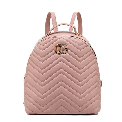 6c185fb7f43 Designer Inspired Pink Quilted Faux Leather backpack