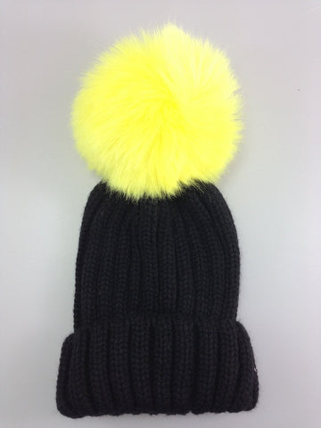 Childrens Single Pom Pom Beanie hat Black with Yellow pom pom