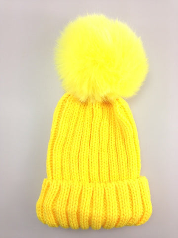 Childrens Single Pom Pom Beanie hat Yellow