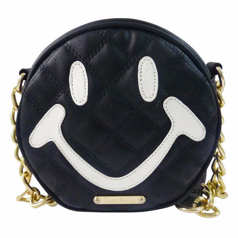 Anna Smith Black Smiley Face Quilted Cross Body Bag