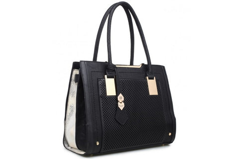 Bessie London Black and White Tote Bag