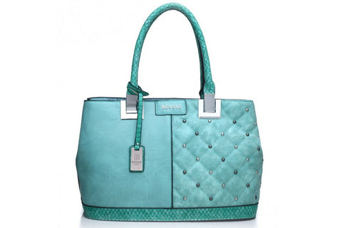Bessie London Green Quilted effect Tote Bag