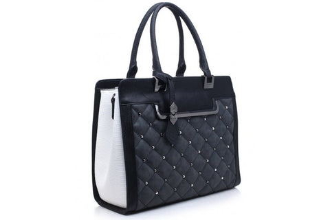 Bessie London Black Quilted effect Tote Bag