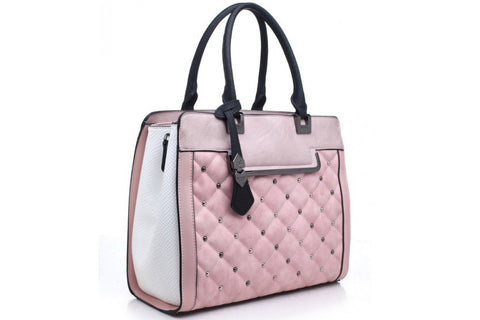 Bessie London Pink Quilted effect Tote Bag