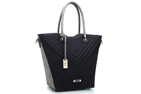 Bessie London Black and Grey Structured Tote