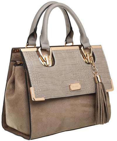 Various colours Bessie London Two tone effect Moc Croc and Velvet tote bag