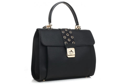 Bessie London Black Tote bag with clip fastening