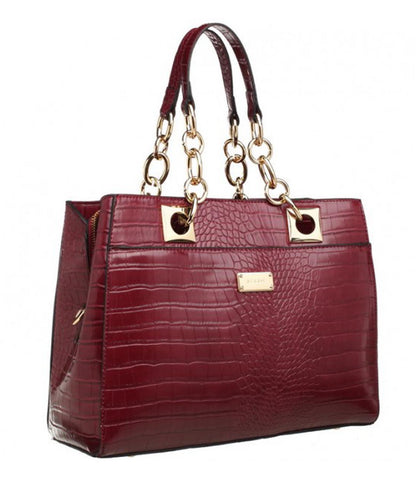 5628151a62 Bessie London Red Moc croc structured tote bag