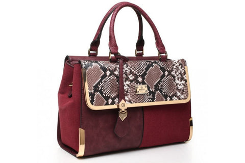 Bessie london Burgandy Tote bag with Snake effect detailing