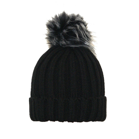 Adult Single Pom Pom Beanie Black