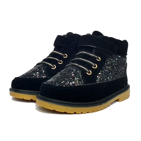 Kids Sparkly Faux Suede Boots Black