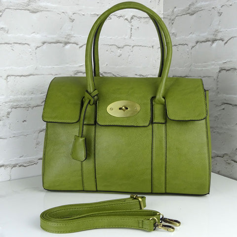 Designer inspired Green Top handled shoulder bag with postman lock