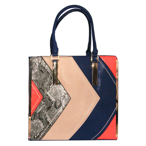 Blue Tote Bag with Multi-Coloured Panel