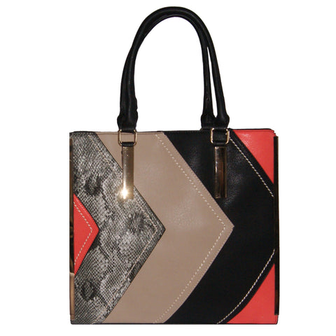 Black Tote Bag with Multi-Coloured Panel