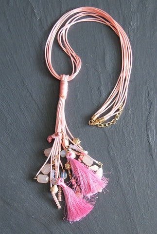 Pink Tassle Necklace With Decorative Stones