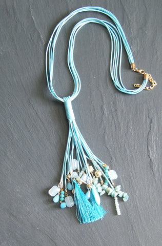 Blue Tassle Necklace WIth Decorative Stones