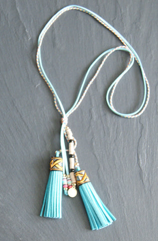 Blue Tassle Cord Necklace
