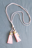 Pink Tassle Cord Necklace