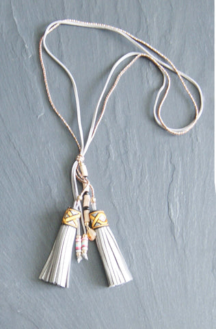 Grey Tassle Cord Necklace