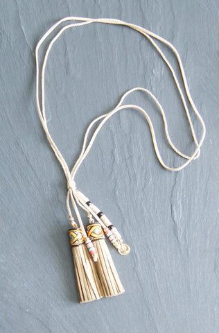 Beige Tassle Cord Necklace