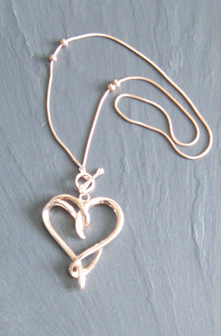 Rose Gold Tone Twisted Heart Necklace