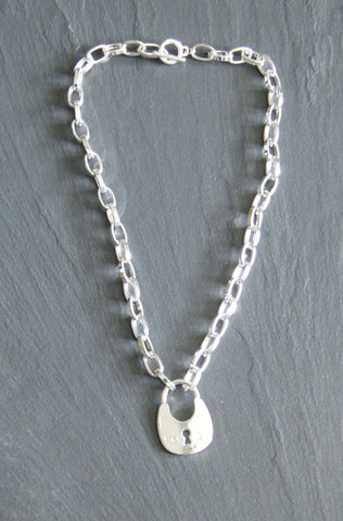 Silver Tone Padlock Necklace