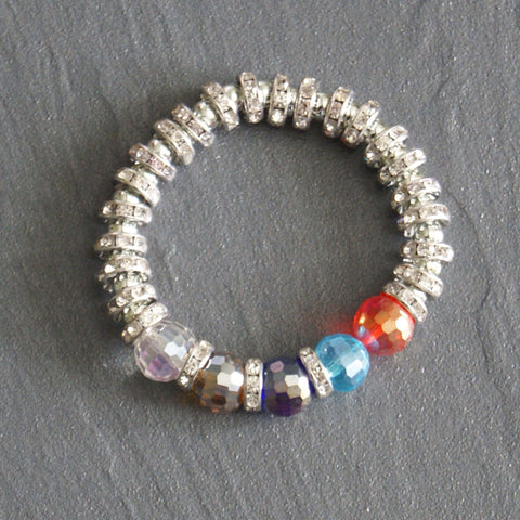 Silver Toned Stretch Mulit-Coloured Bangle