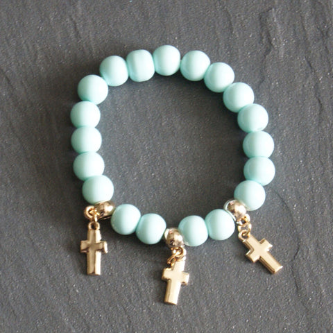 Blue Beaded Bracelet With Cross Charms
