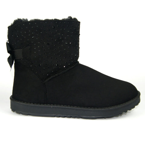 Pull On diamante sparkly Faux Suede Boots Black
