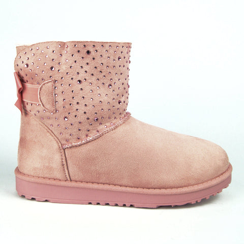 Pull On diamante sparkly Faux Suede Boots Pink