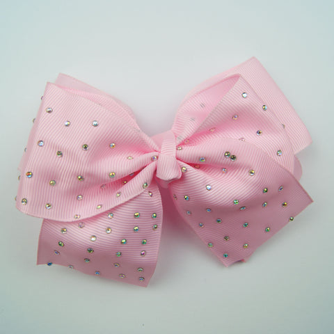 Small Light Pink Diamante Hair Bow